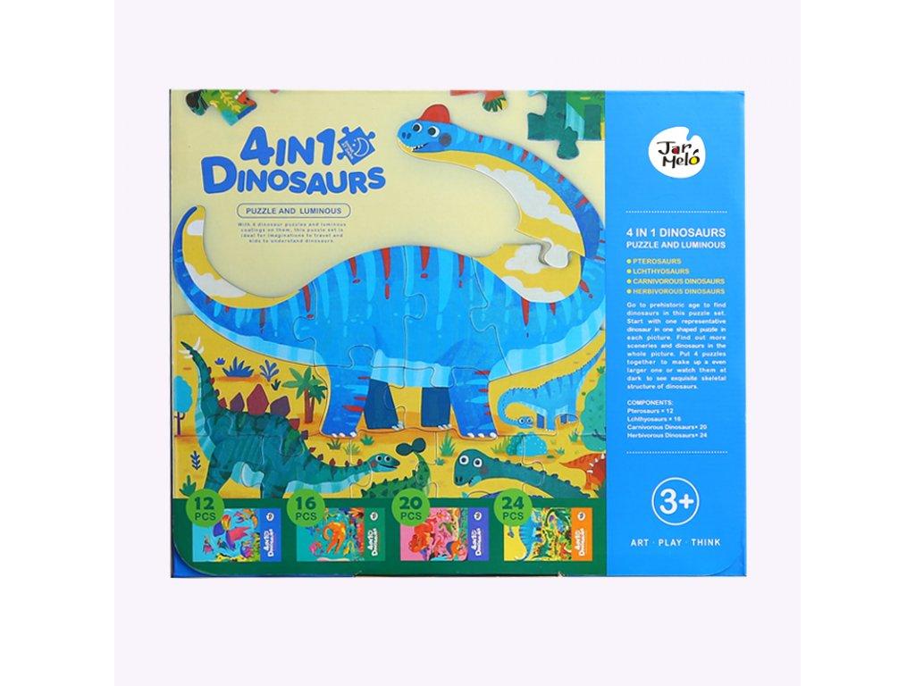 Svietiace puzzle Dinosaury 4v1