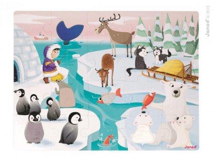 Janod Puzzle dotykové Život na ľade s textúrou 20 dielov od 3-6 rokov