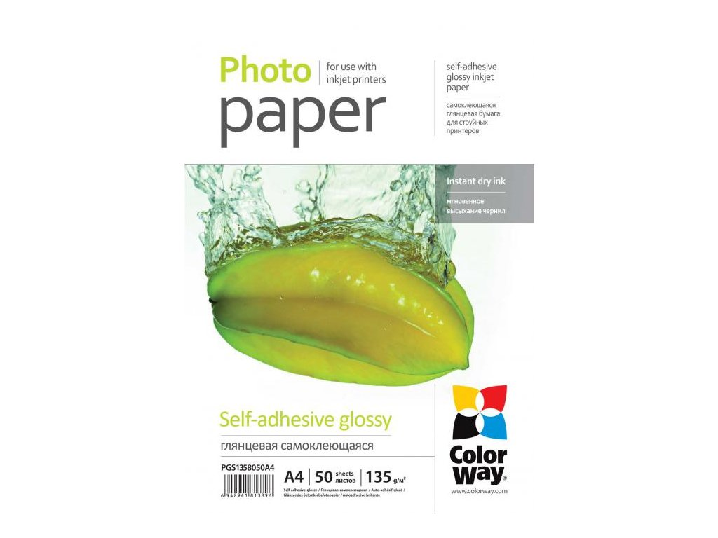 Fotopapier CW Lesklý samolepiaci 135/80g/m²,50ks,A4