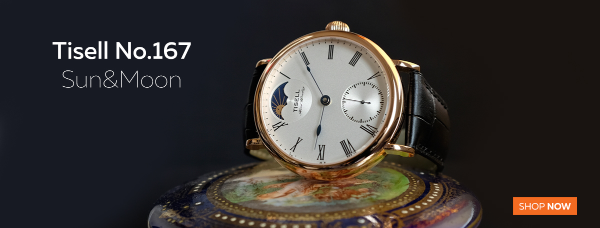 TISELL WATCH NO.167 SUN&MOON ROSE GOLD 43 MM