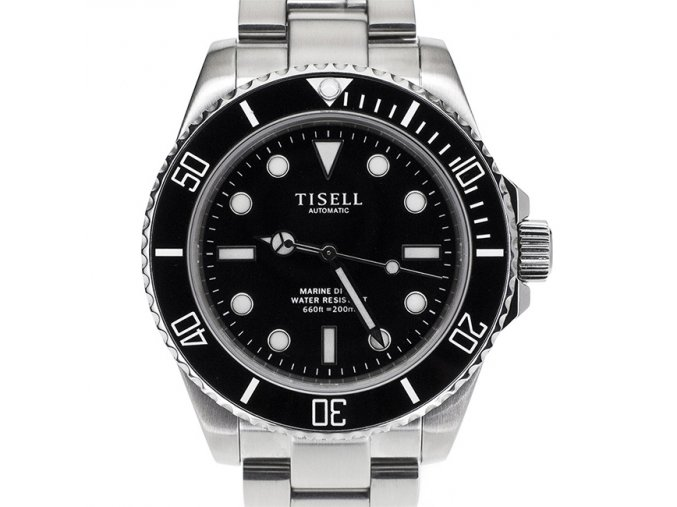 TISELL Automatic Diver Watch Black Without Date 40 mm