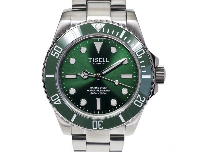 TISELL Automatic Diver Watch Green Without Date 40 mm