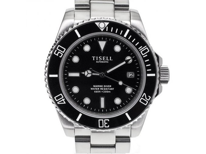 TISELL Automatic Diver Watch Black 40 mm, date without cyclops