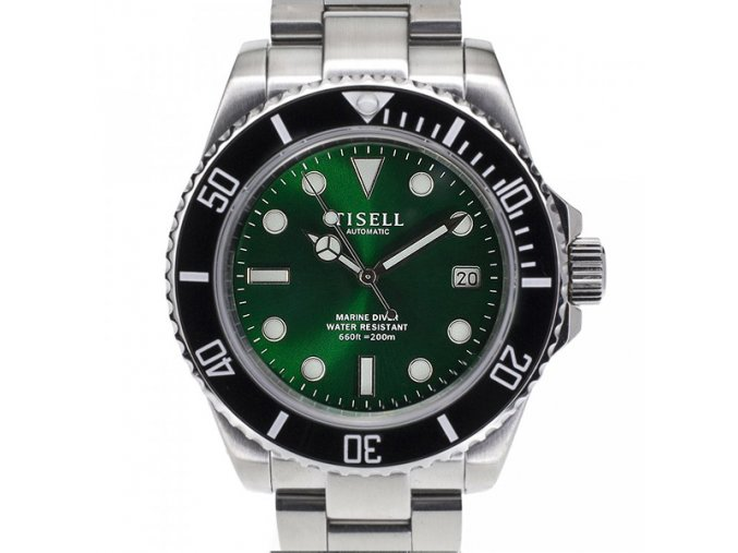 TISELL Automatic Diver Watch Black-Green Date 40 mm