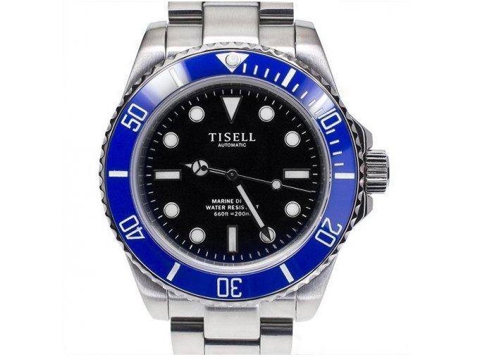 TISELL Automatic Diver Watch Blue-black no date 40 mm