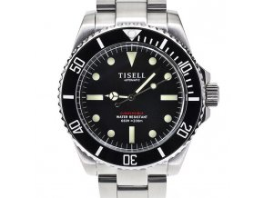TISELL Automatic Vintage Submersible Diver Watch Black Without Date 40 mm