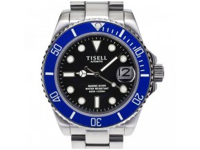 TISELL Automatic Diver Watch Blue Black with Cyclop 40 mm
