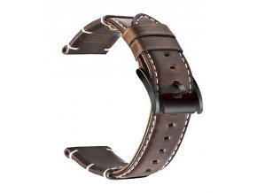 Luxury Vintage Leather Solid Dark Brown Strap
