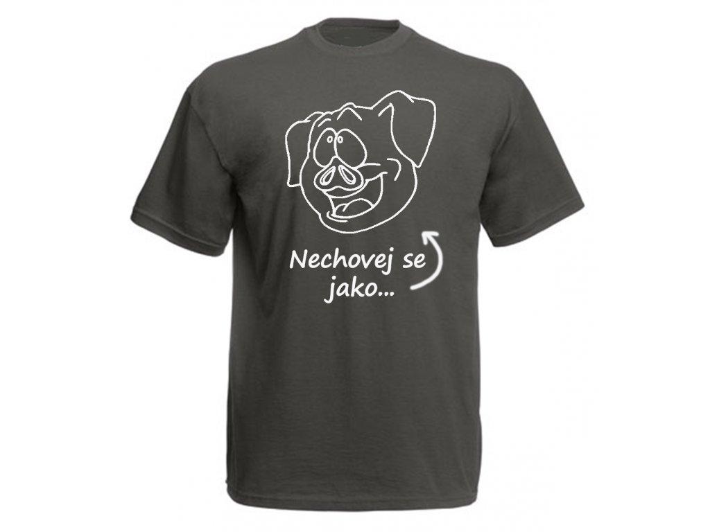 Reklama tričko prase šedé