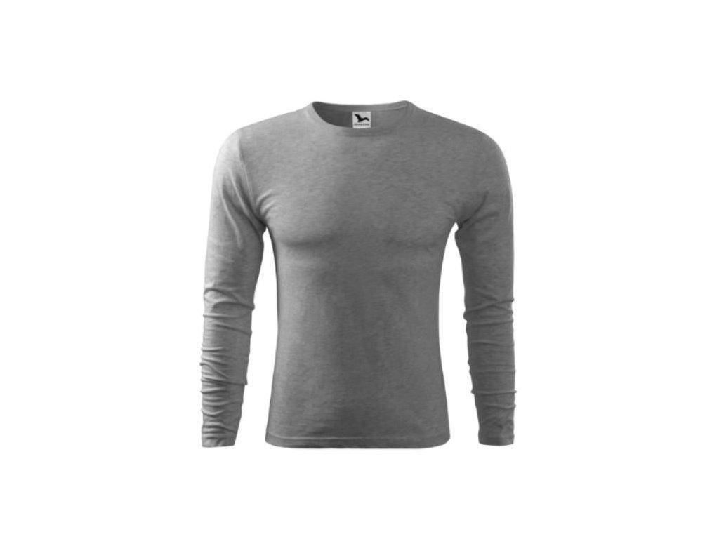 Pánské triko dlouhý rukáv 119 šedý melír