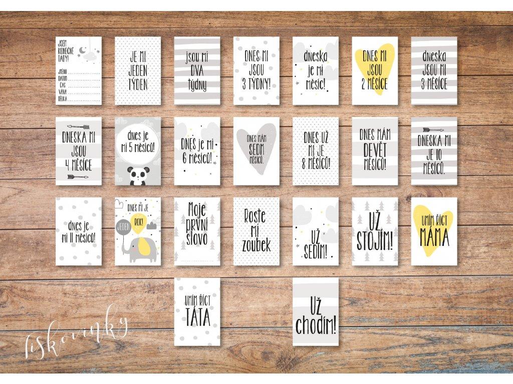 Milníkové kartičky šedé #4 NAHLED