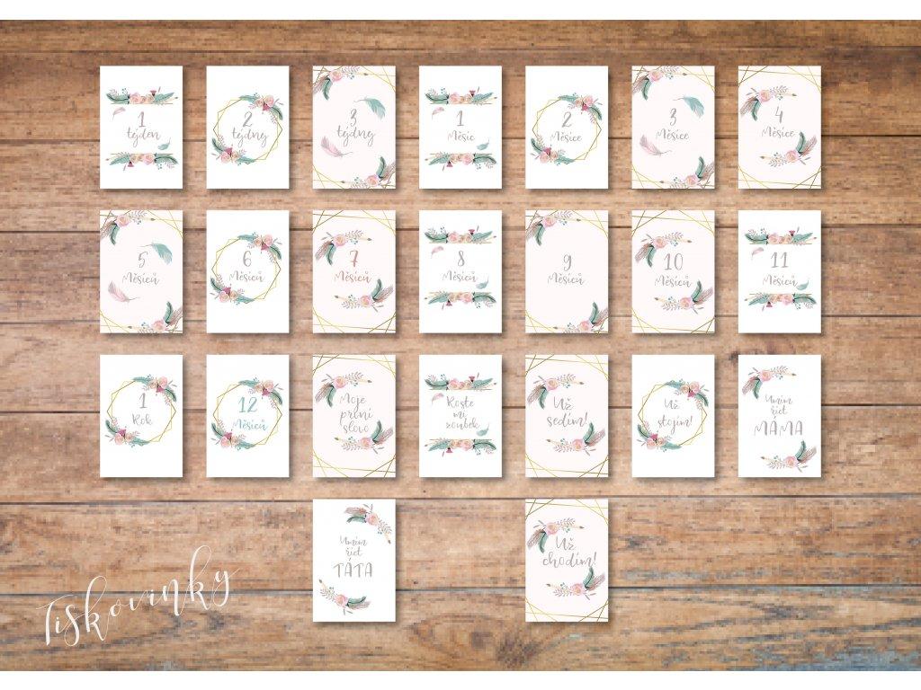 Milníkové kartičky Boho #5 NAHLED