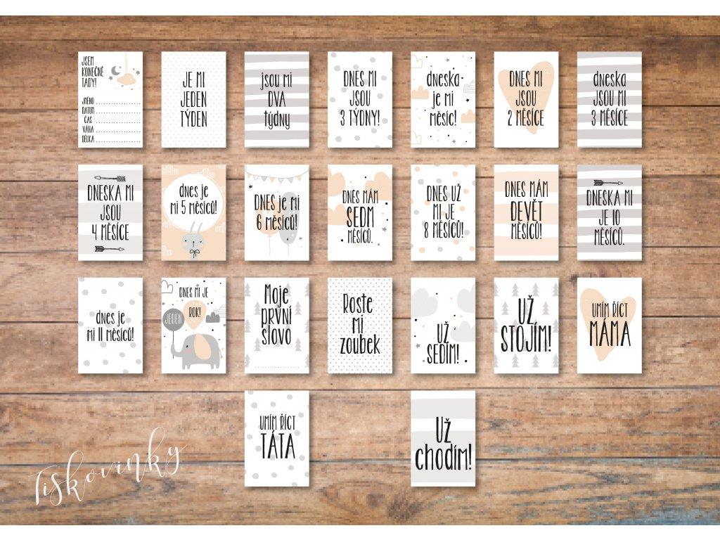 Milníkové kartičky šedORŮŽOVÉ #6 NAHLED