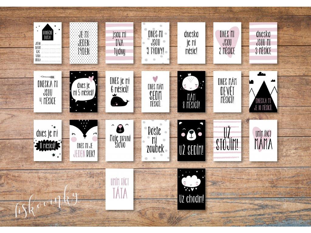 Milníkové kartičky ČERNORŮŽOVÉ #7 NAHLED