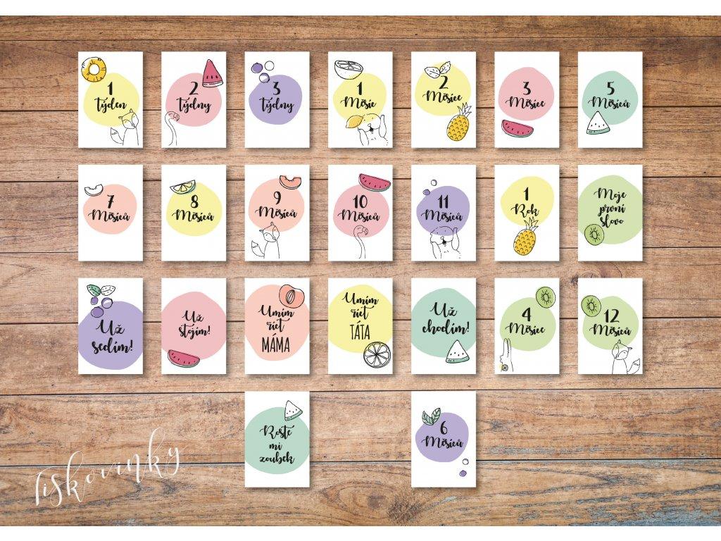 Milníkové kartičky Zvířátka a Ovoce #1 NAHLED