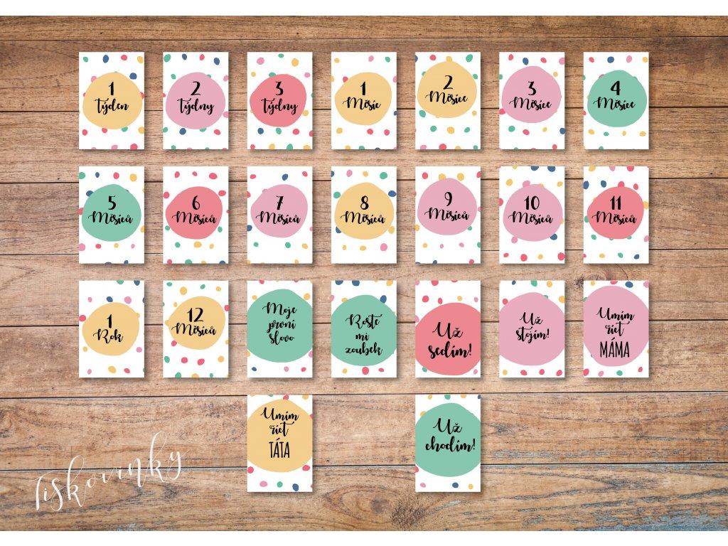 Milníkové kartičky puntíky#3 NAHLED