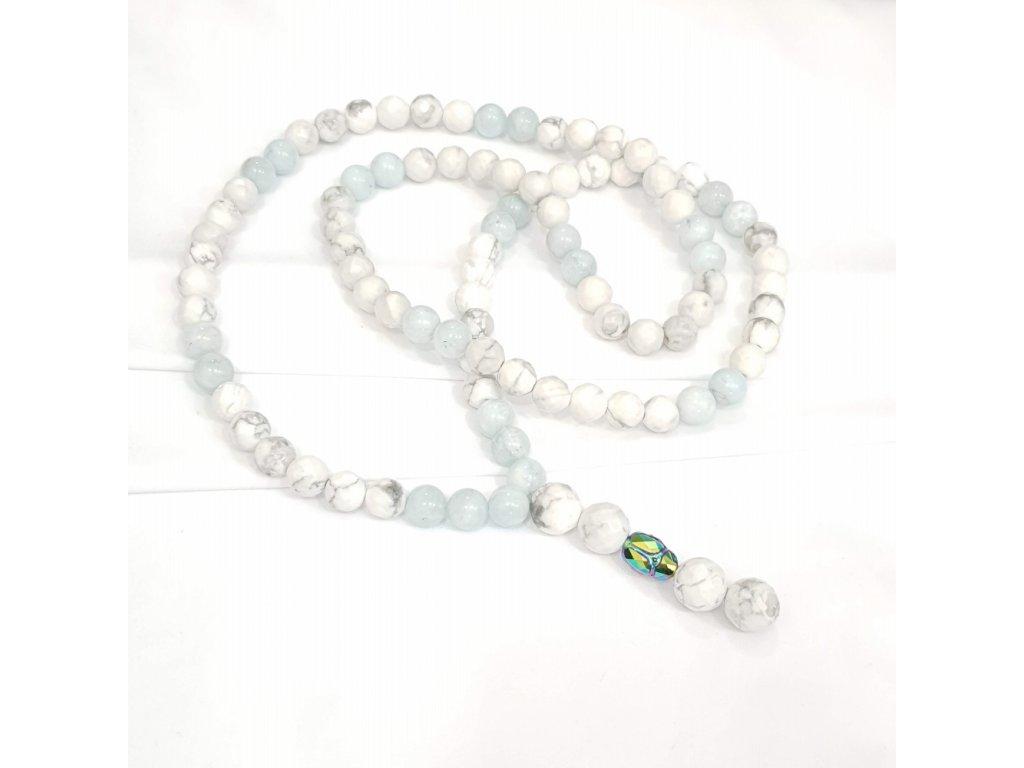 Titanium dámsky náhrdelník- akvamarín,howlit,Swarovski® element skarabeus