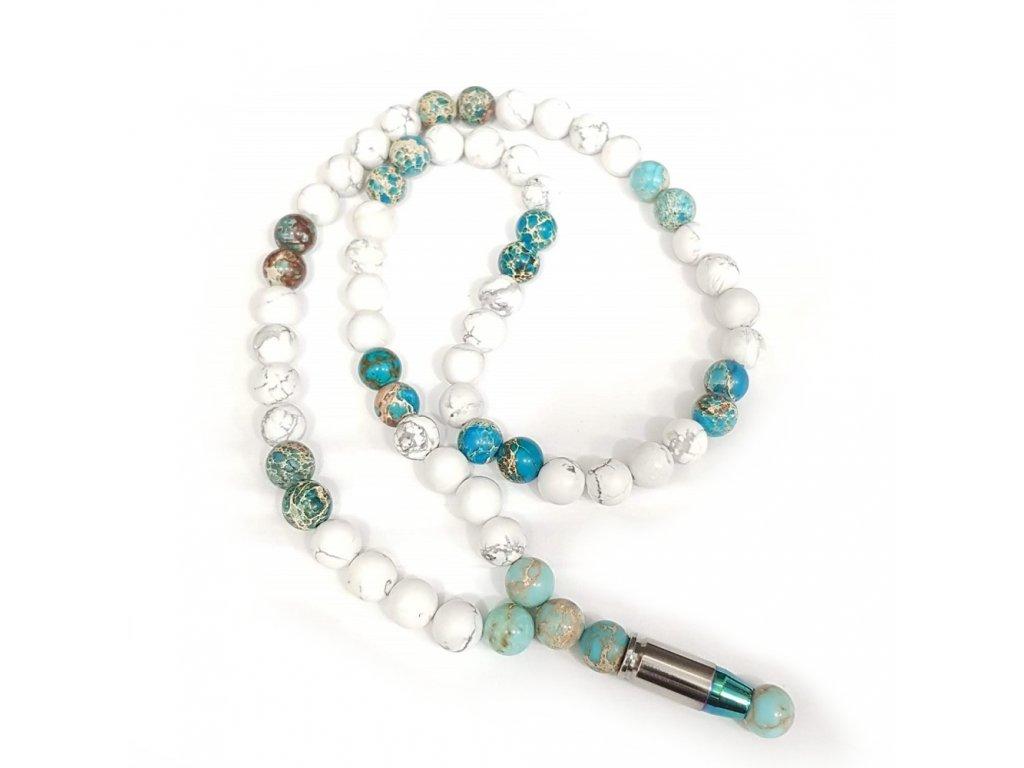 Titanium dámsky náhrdelník-  howlit,tyrkysový jaspis  regalit