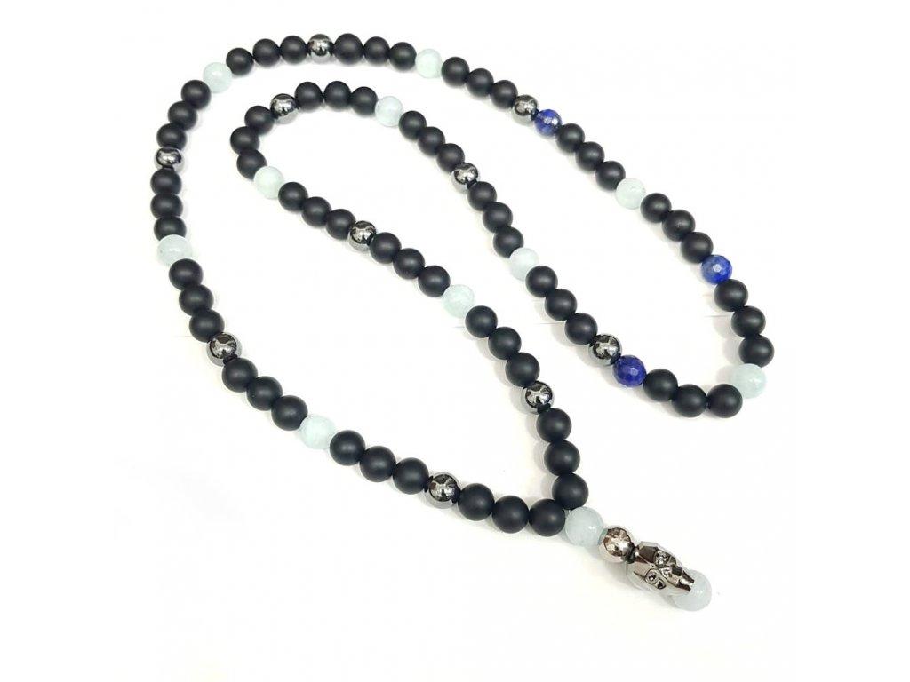 Titanium dámsky náhrdelník s lesknúcim krištáľom v tvare lebky od spločnosti Swarovski® ,matný  ónyx, lapis lazuli brúsený, hematit, akvamarín