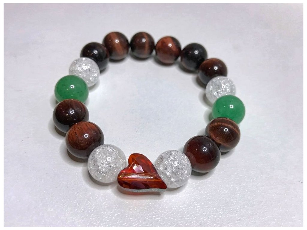Titanium dámsky náramok s lesknúcim krištáľom v tvare srdca od spločnosti Swarovski®, zeleny avanturin,byčie oko,praskaný krišťál