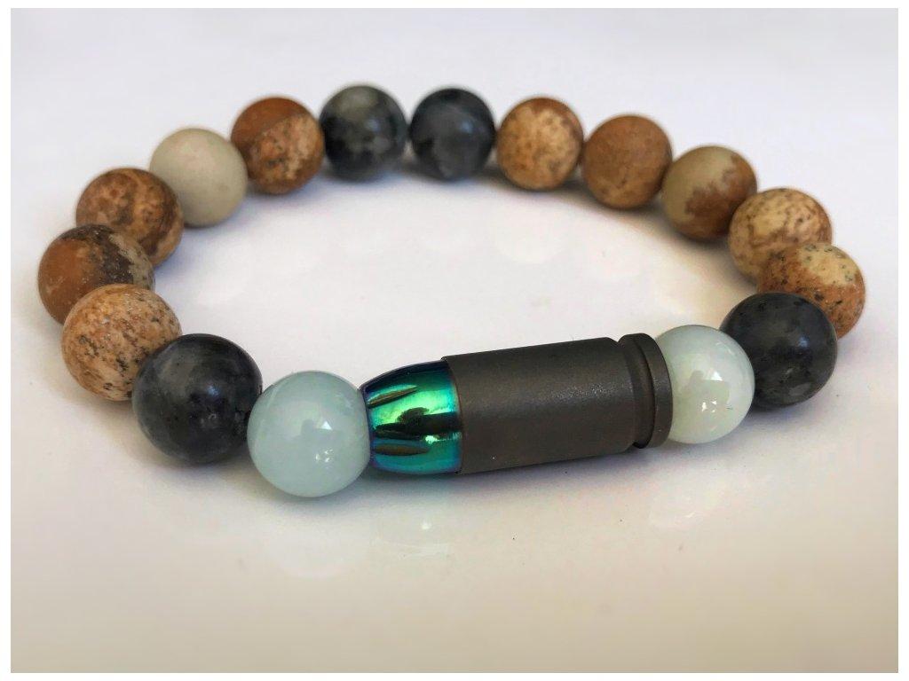 Titanium dámsky náramok- akvamarín, obrázkový jaspis, larkvit