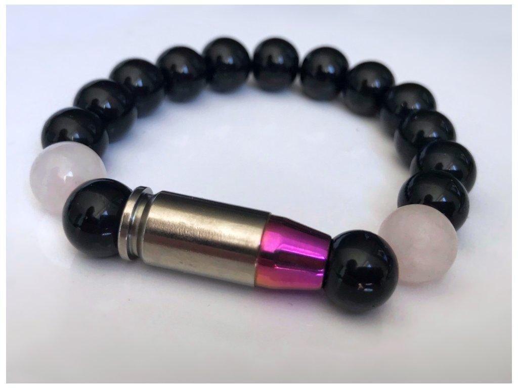 Titanium dámsky náramok - ruženín, ónyx