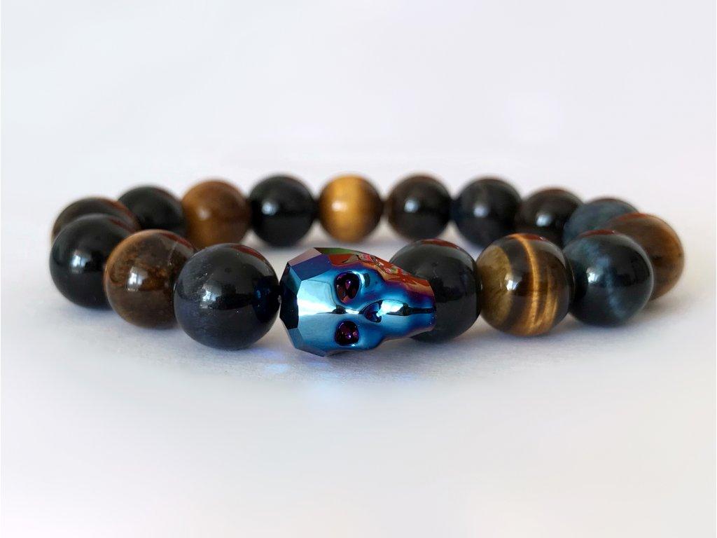 Titanium pánsky náramok s krištáľom v tvare lebky od spoločnoti Swarovski® - hnedé tygrie oko, modré tygrie oko