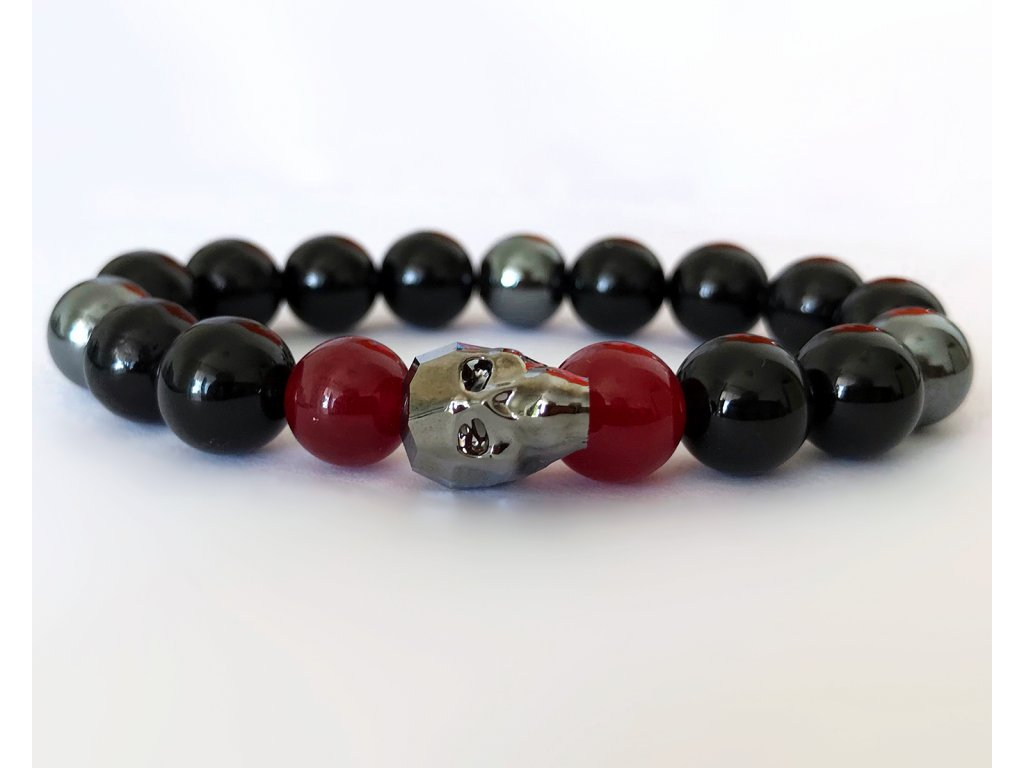 Titanium pánsky náramok s krištáľom v tvare lebky od spoločnoti Swarovski® - lesklý ónyx, hematit, jadeit ruby