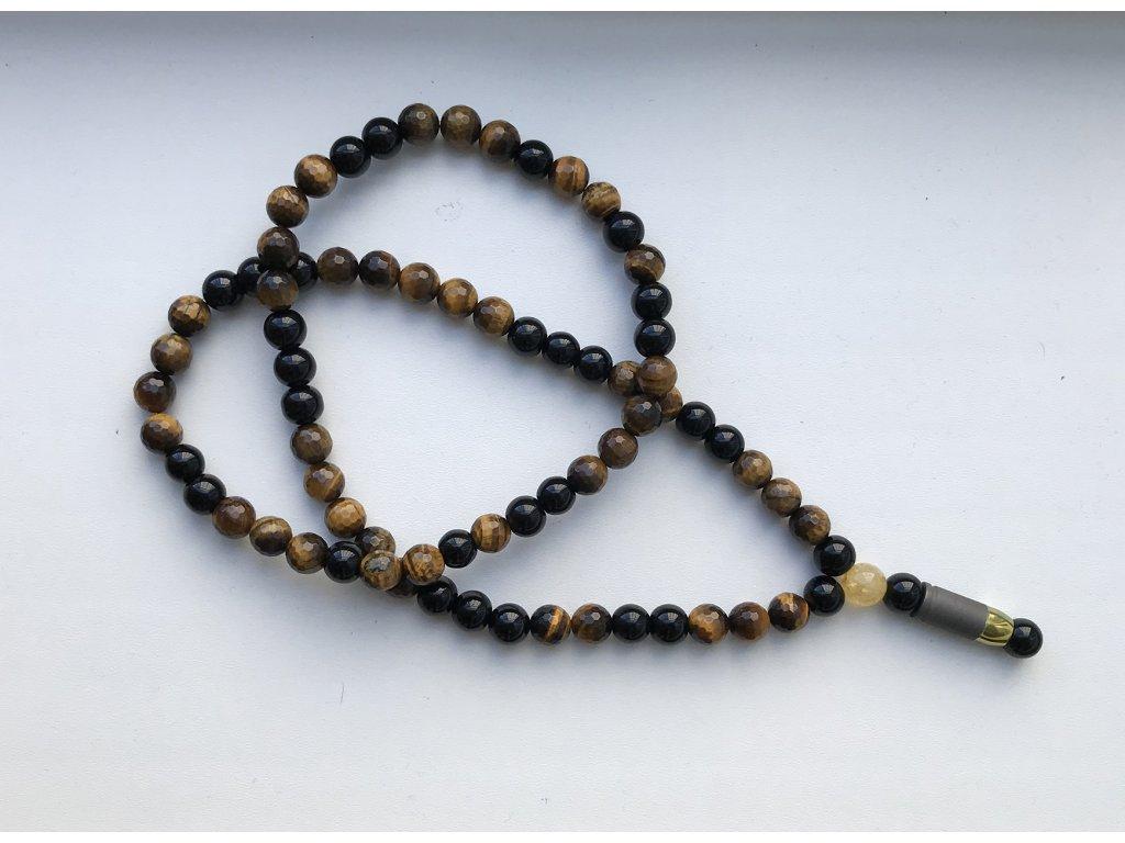 Titanium dámský náhrdelník - citrín, hnedé tygrie oko, sklo čierne