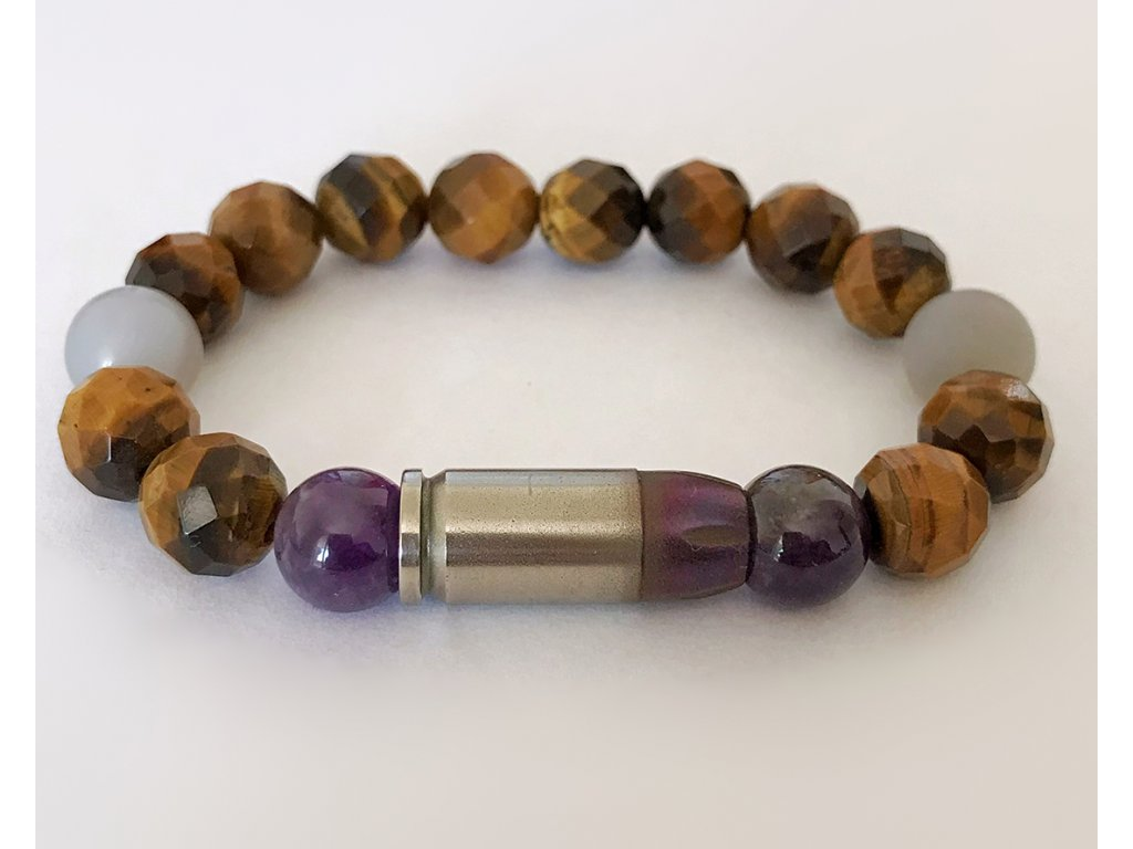 Titanium dámsky náramok - brúsené tigrie oko, achát fialový, achát sivý