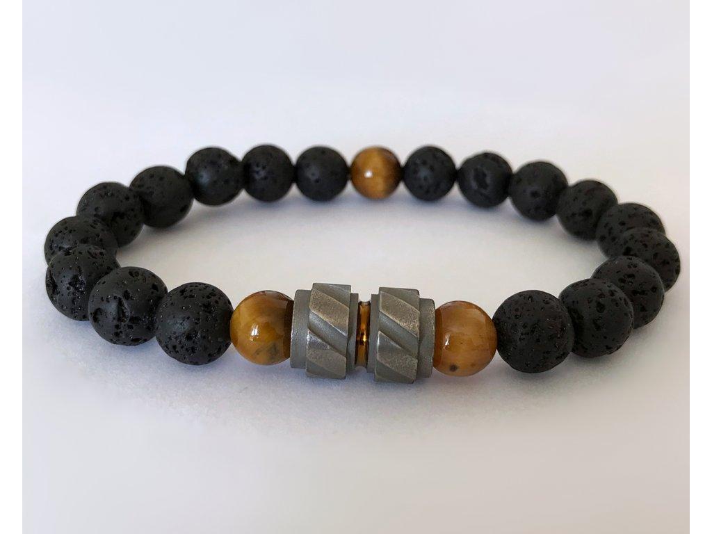 Titanium pánsky náramok - lávový kameň, tygrie oko hnedé