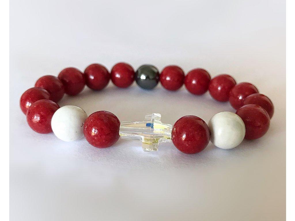 Titanium dámsky náramok - jadeit rubín, howlit, hematit