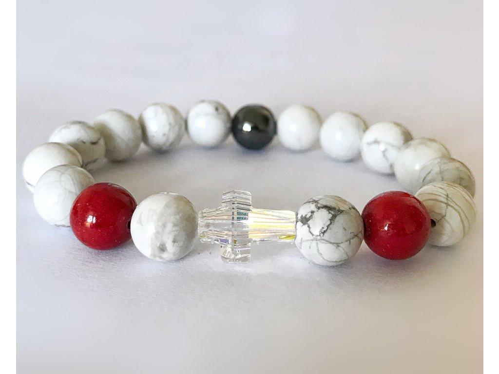 Titanium dámsky náramok - howlit, jadeit rubín, hematit