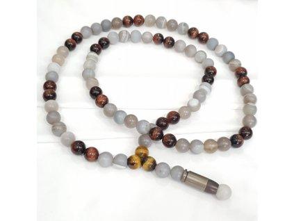 Titanium pánsky náhrdelník - prúžkovaný achát, býčie oko, hnedé tigrie oko, titanový náboj