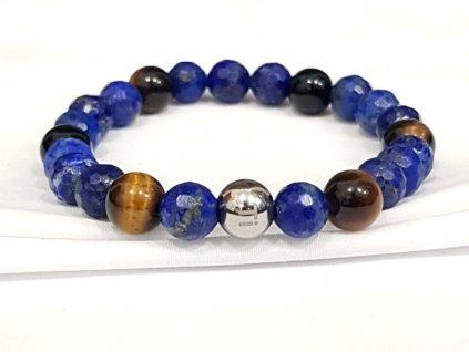 Titanium dámsky náramok -  lapis lazuli brúsený,  hnedé  tigrie oko