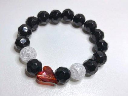 Titanium dámsky náramok s lesknúcim krištáľom v tvare srdca od spločnosti Swarovski® brúsený ónyx, praskaný krišťáľ