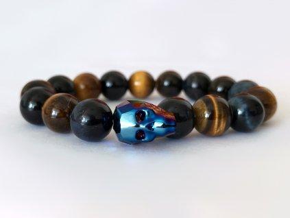 Titanium pánsky náramok s krištáľom v tvare lebky od spoločnoti Swarovski® - hnedé tigrie oko, modré tigrie oko