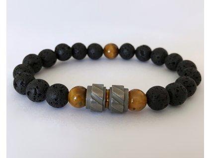 Titanium pánsky náramok - lávový kameň, tigrie oko hnedé