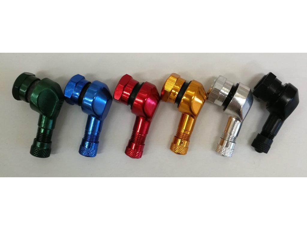 Ventil bezdušový ALU zahnutý moto - průměr 8,3 mm, včetně čepičky