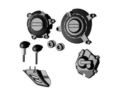 Sada krytů motoru, slidery rámu motocyklu, protektory zadní vidlice, kryt řetězu GB Racing - KAWASAKI ZX-10R r. 11-20