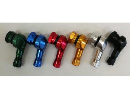 Ventil bezdušový ALU zahnutý moto - průměr 11,3 mm, včetně čepičky