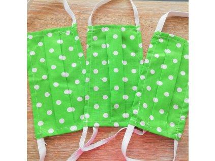 Bavlnené rúško - jednovrstvové - zelená