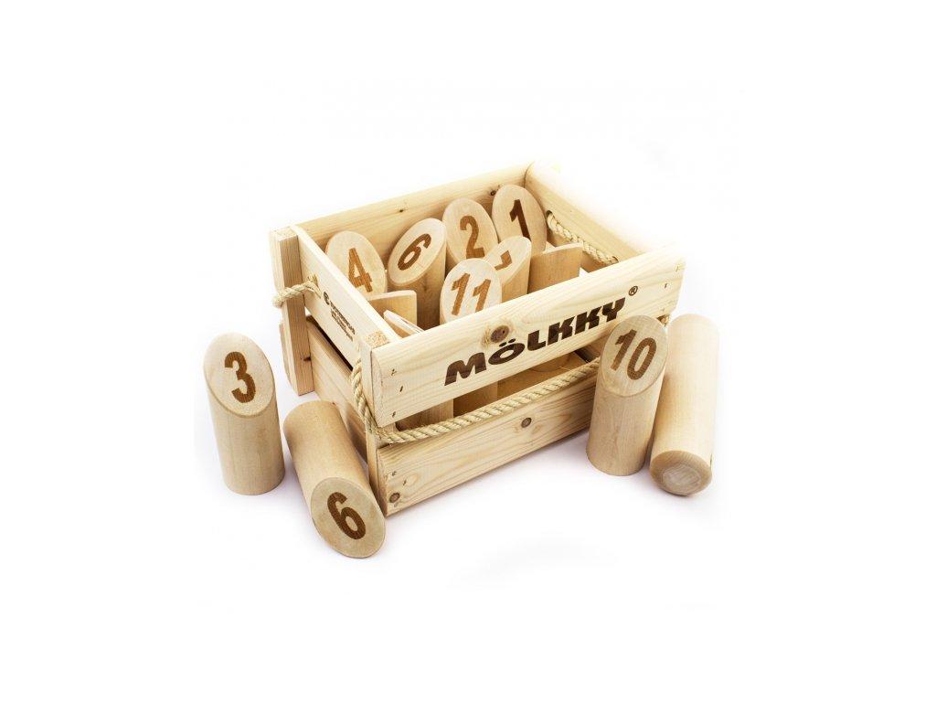 Mölkky - Dřevěné kuželky  (v bedýnce)