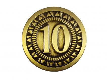 """Univerzální mince pro deskové a RPG hry hodnoty """"10"""""""