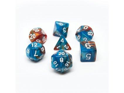 Sada 7 dvoubarevných perleťových kostek pro RPG