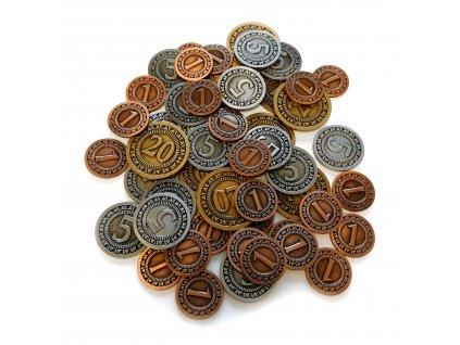 Sada univerzálních kovových mincí (50 ks)  (25x 1, 15x 5 a 10x 20)
