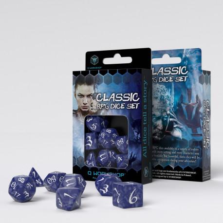 Levně Q-Workshop Classic RPG Dice Set (7 dice) modrá / bílá