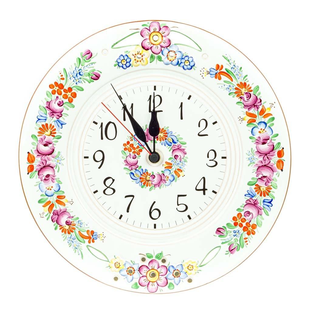 Nástěnné hodiny, prořezávané, bílá chodská keramika