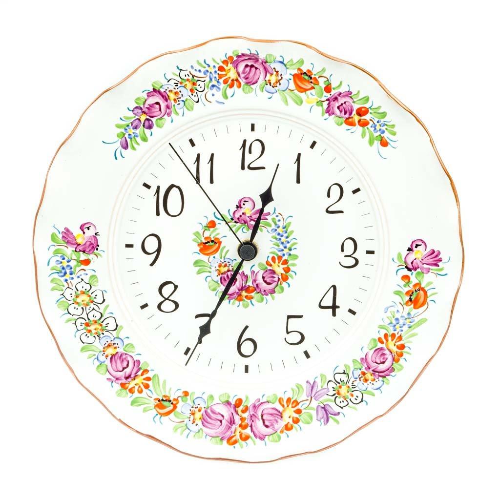 Nástěnné hodiny, vlnky, bílá chodská keramika