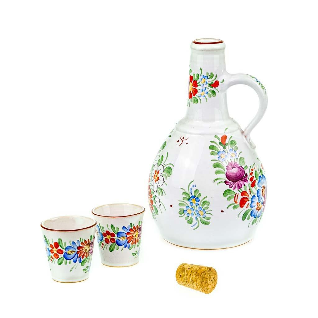 Láhev na slivovici a 2 štamprle, chodská keramika